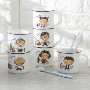 `家用刷牙杯一家人四口陶瓷水杯可爱卡通儿童亲子男女孩六漱口新