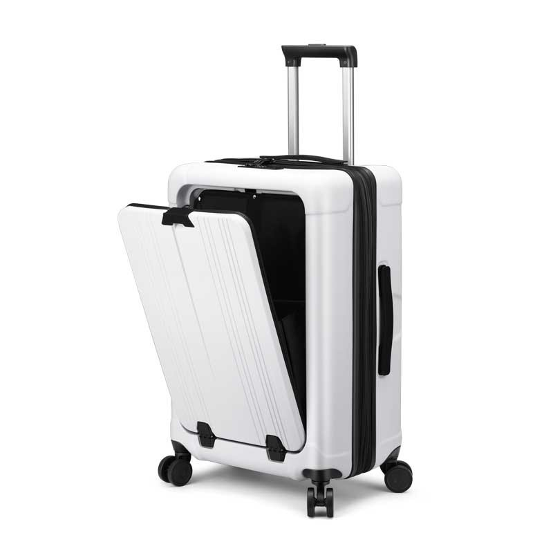 Kingdens front open top computer trolley case front open trunk 24 inch extendable portable suitcase for men and women