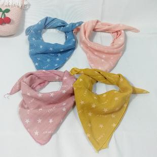 宝宝小方巾婴幼儿卡通棉麻领巾儿童围巾丝巾发带百搭韩版口水巾