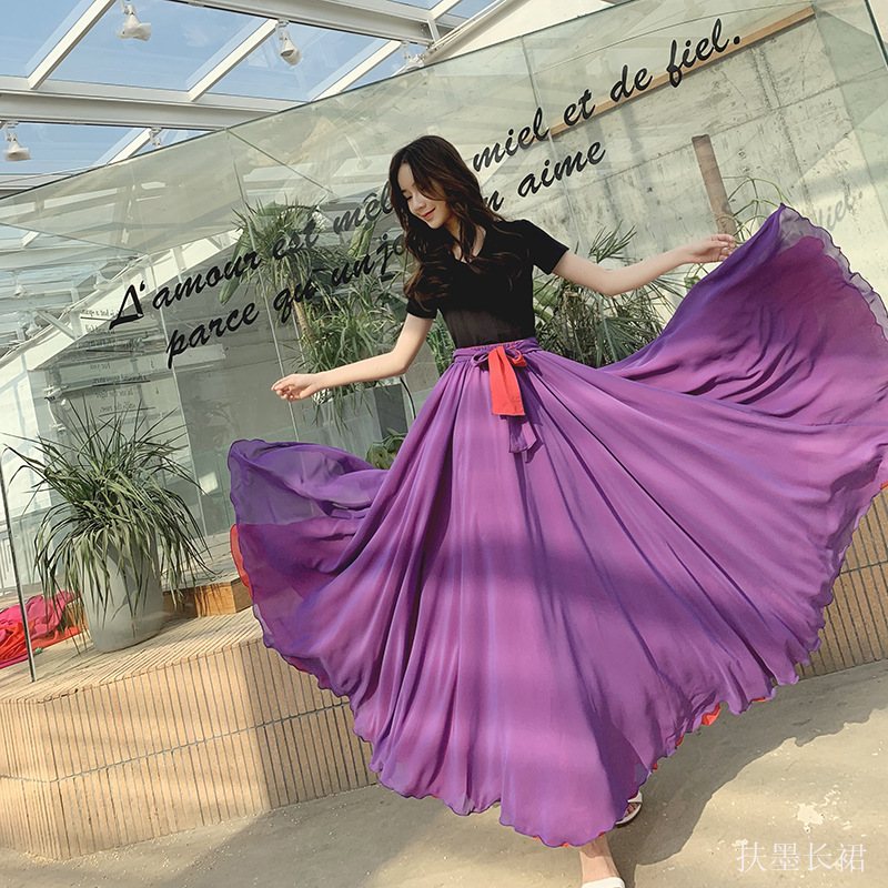 Spring and autumn Chiffon dancing skirt with two colors on both sides