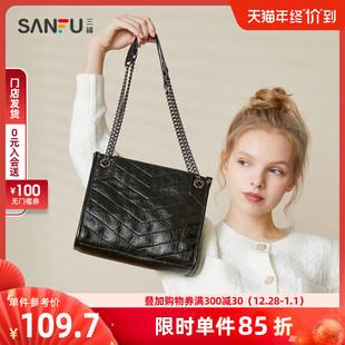 三福2020年新款女韩版经典纯色斜纹大容量链条包单肩包通勤女包图片