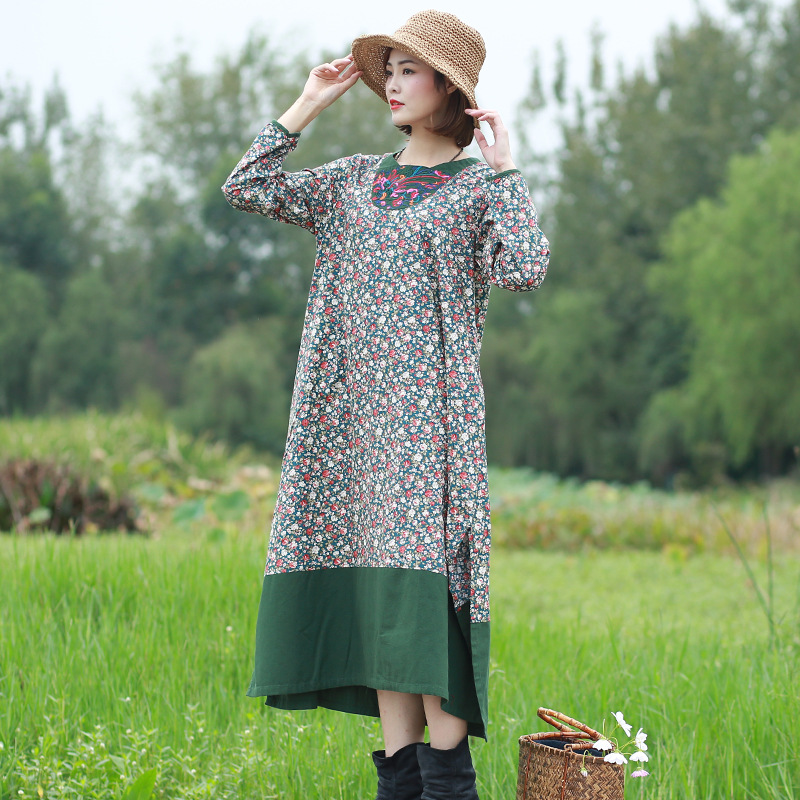 Cotton linen womens spring dress ethnic style embroidered robe artistic temperament small floral print dress