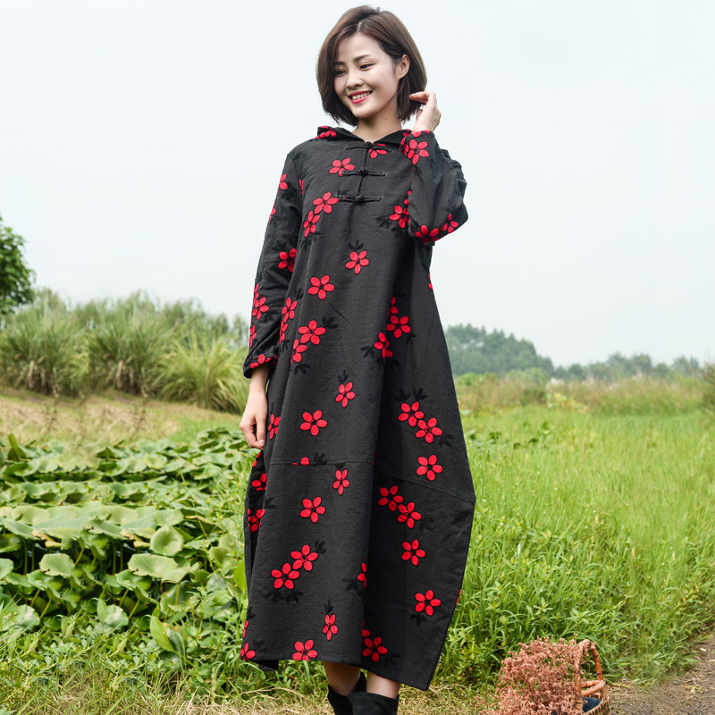 Zhipai cotton hemp womens new embroidery dress in spring and Autumn