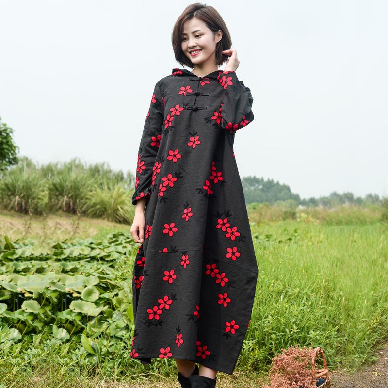 枝牌棉麻女装春秋季新款刺绣连衣裙民族风连身裙