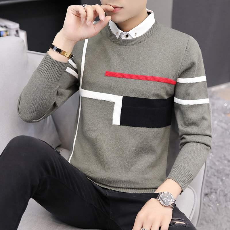 秋冬季假两件毛衣男士2019新款针织衫韩版修身男装打底衫潮流线衣