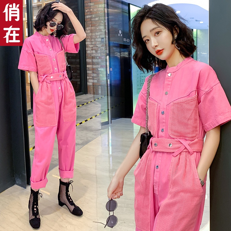 Jumpsuit womens summer and Korean high waist slim loose work clothes Jumpsuit 2020 new short sleeve casual Jumpsuit trend
