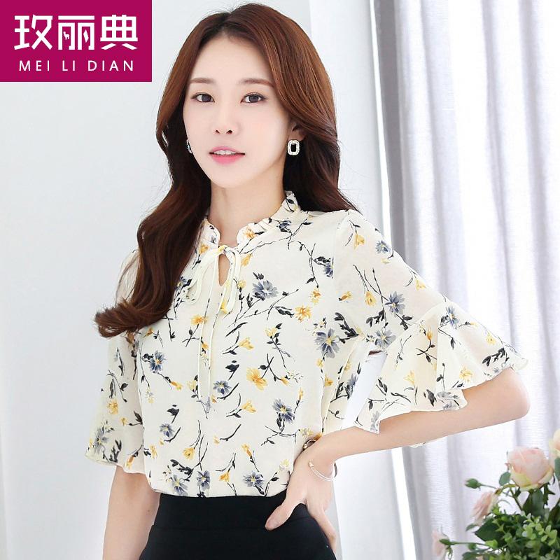 2018夏季新款女装韩范雪纺衬衫印花长袖衬衣V领修身显瘦气质上