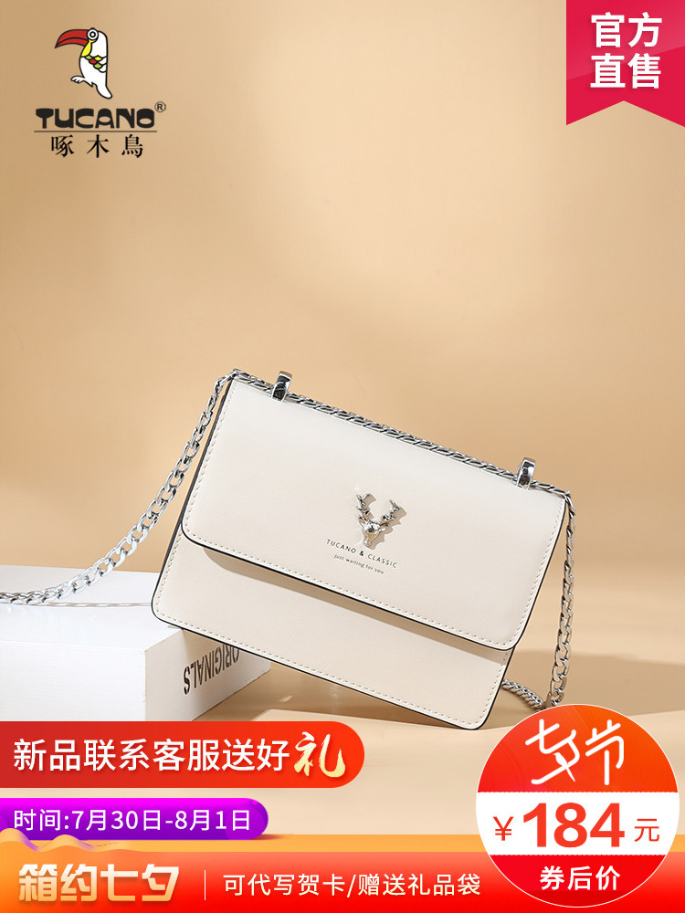 Woodpecker handbags new 2019 shoulder diagonal packet female texture French niche bag Western pie small square package female