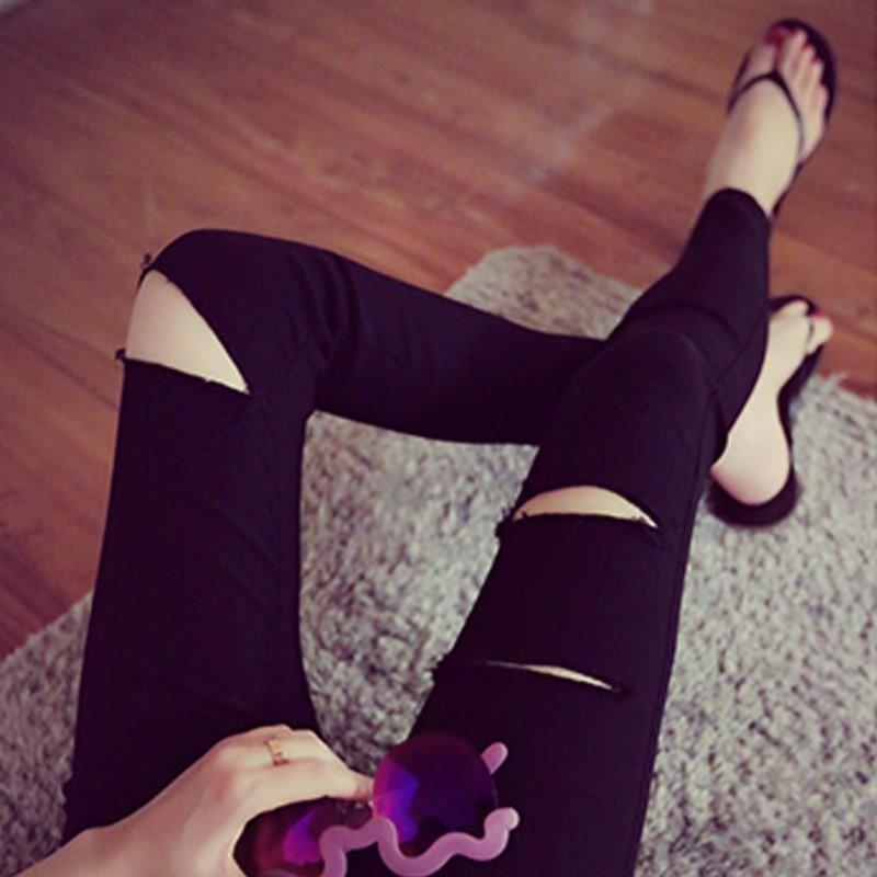 小黑裤女 紧身薄款外穿高腰铅笔黑色小脚裤夏季九分破洞打底裤女(用26.7元券)