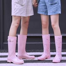 女士水鞋高筒女式雨鞋女时尚款外穿韩国防水长筒雨靴可爱水靴防滑