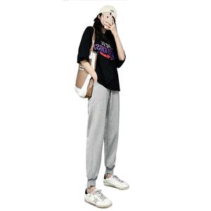 灰色宽松束脚夏季2021新款运动裤