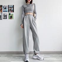 灰色运动裤女宽松束脚春秋薄款2021新款显瘦百搭夏季阔腿休闲卫裤