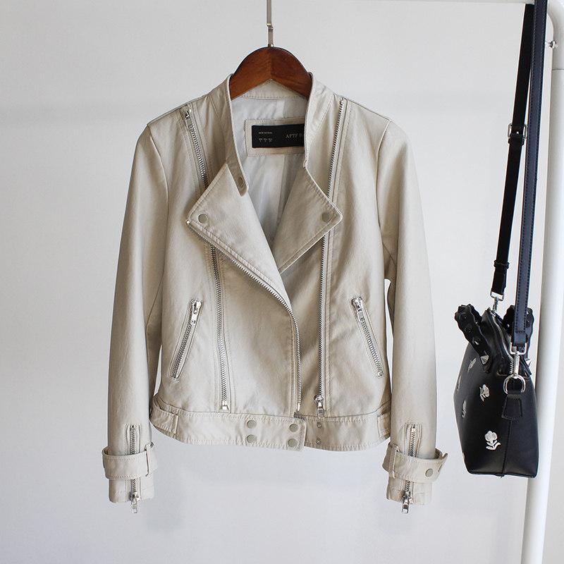 秋装新款立领修身小版型短款机车皮夹克女时尚水洗pu皮衣外套