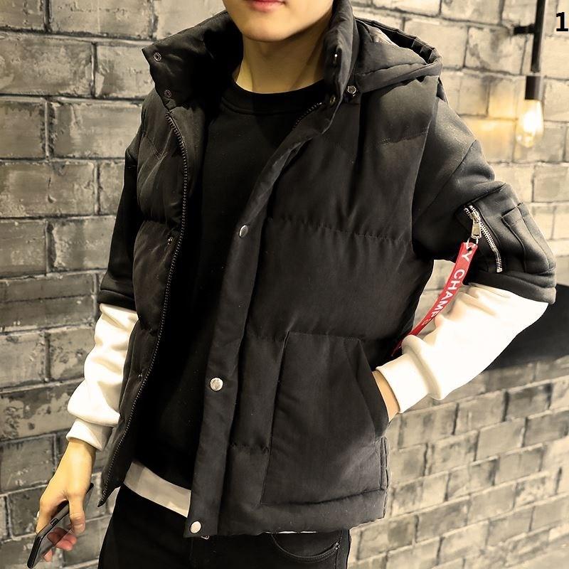 Mens autumn and winter vest slim fit Korean down cotton trend handsome mens coat winter warm shoulder vest