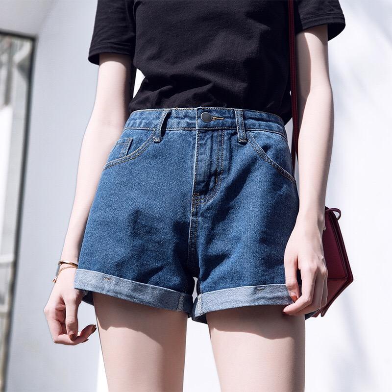 牛仔短裤女夏2021新款宽松显瘦学生百搭胖mm高腰a字牛仔阔腿热裤