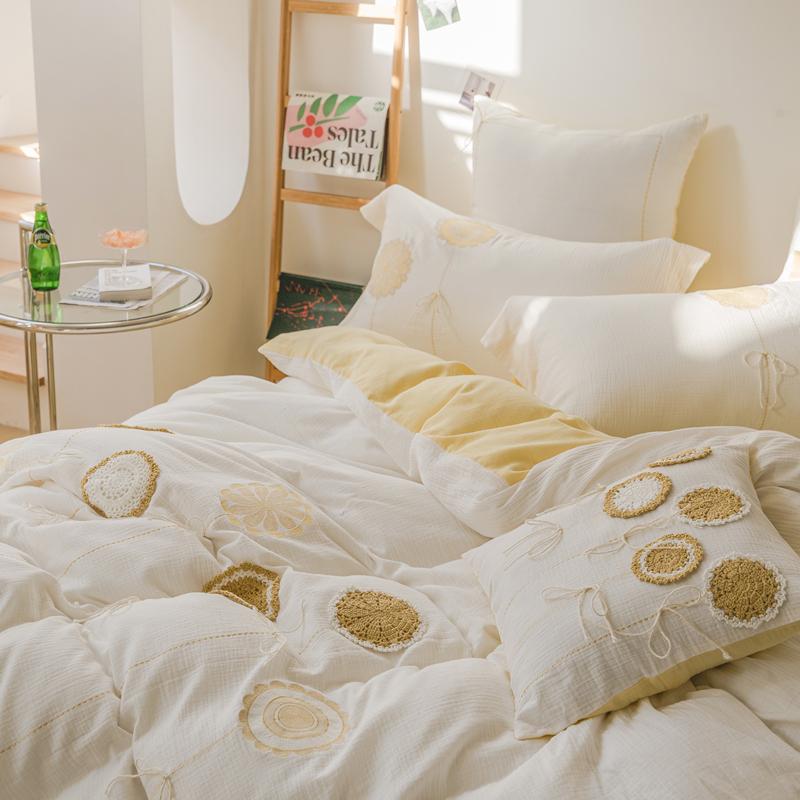 进口全棉双层纱四件套 刺绣手工编织小清新轻奢纯棉被套床单床品