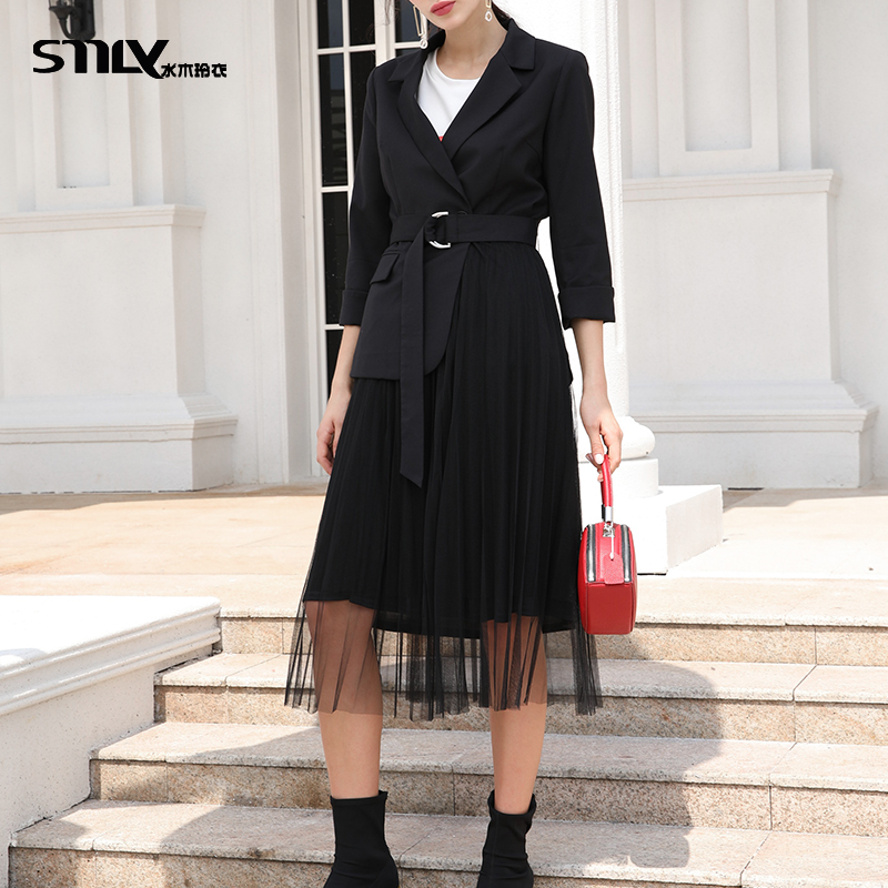 [live broadcast] the stitched gauze of the new autumn suit is thin, medium and long. Two dresses