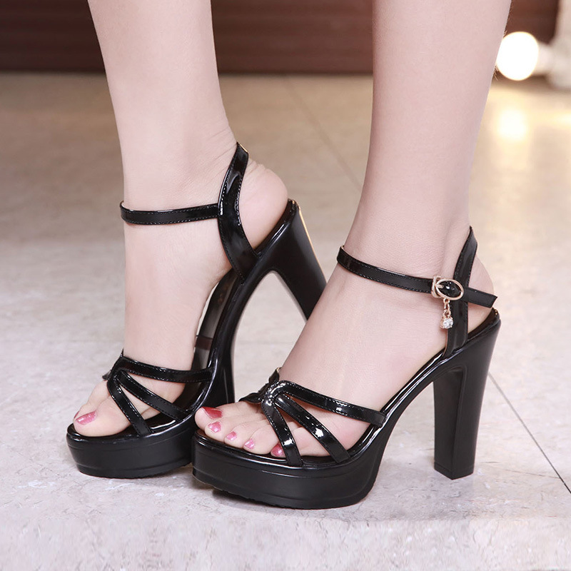 Cheongsam model show high heeled shoes 2021 summer sandals womens thick heel open toe one line with waterproof platform patent leather large size