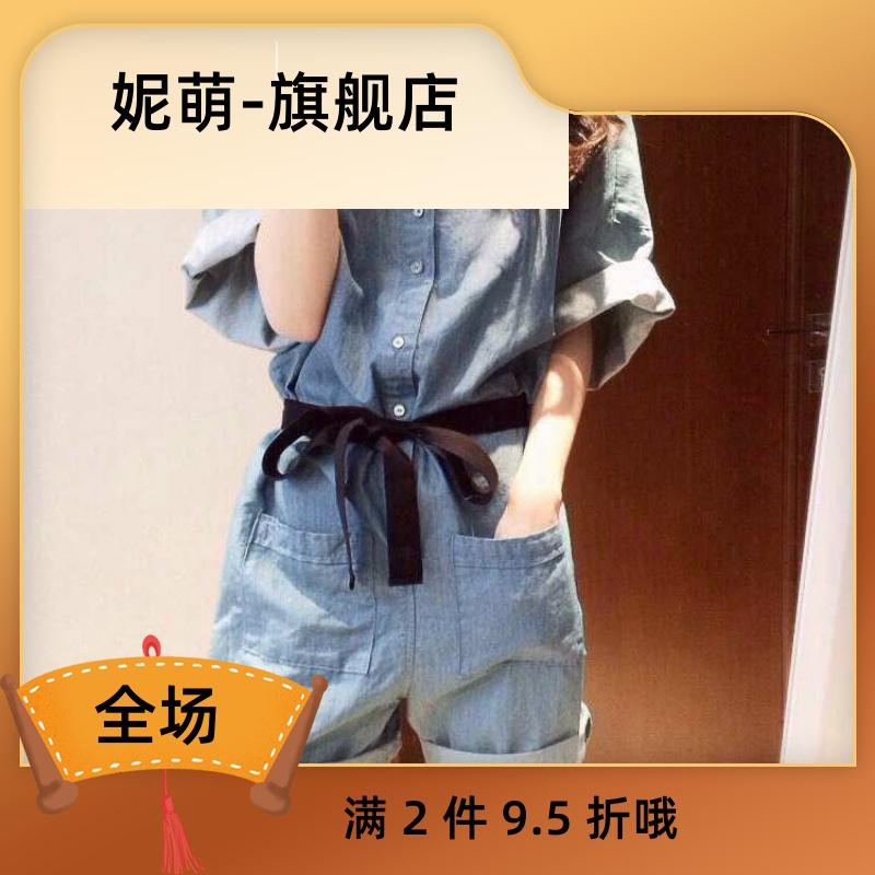 牛仔连体短裤女夏季宽松显瘦连衣裤学生松紧腰阔腿裤连身休闲套装