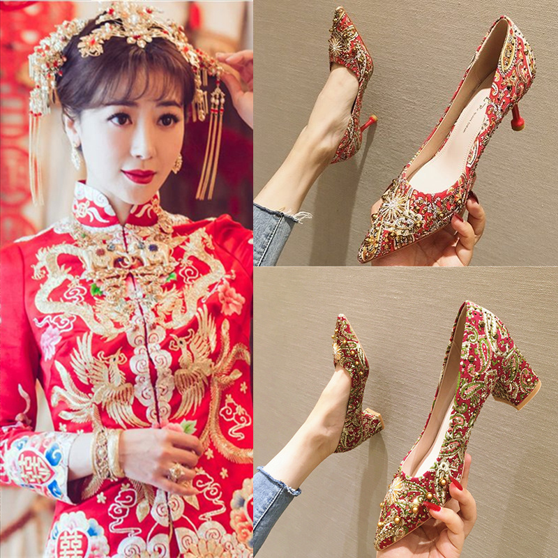 Snow Yierkang Xiuhe shoes Chinese wedding shoes womens 2020 new bridal shoes red high heels womens Embroidery