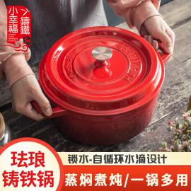 出口品质25CM珐琅铸铁锅煲汤炖锅生铁搪瓷锅无涂层不粘锅铁炖锅