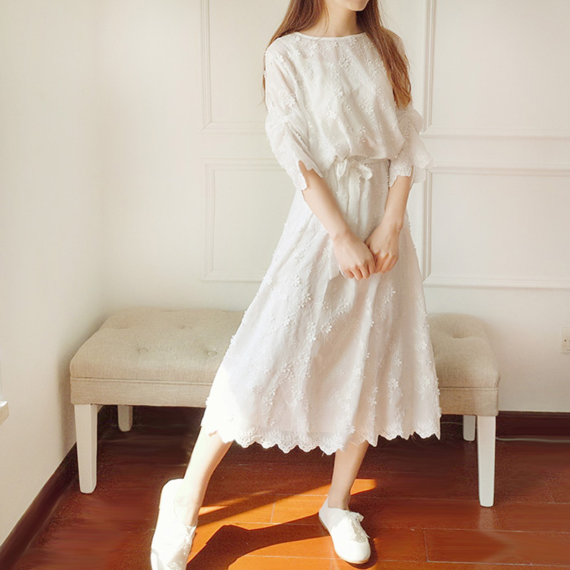 Spring and summer literature Fansen womens Lace Dress Holiday loose two piece white fairy dress with retro embroidery