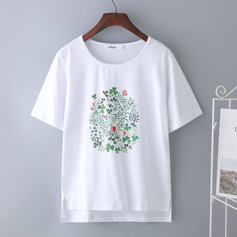 2019新款韩版潮纯棉短袖t恤女白色百搭宽松显瘦上衣印花半袖t��衫