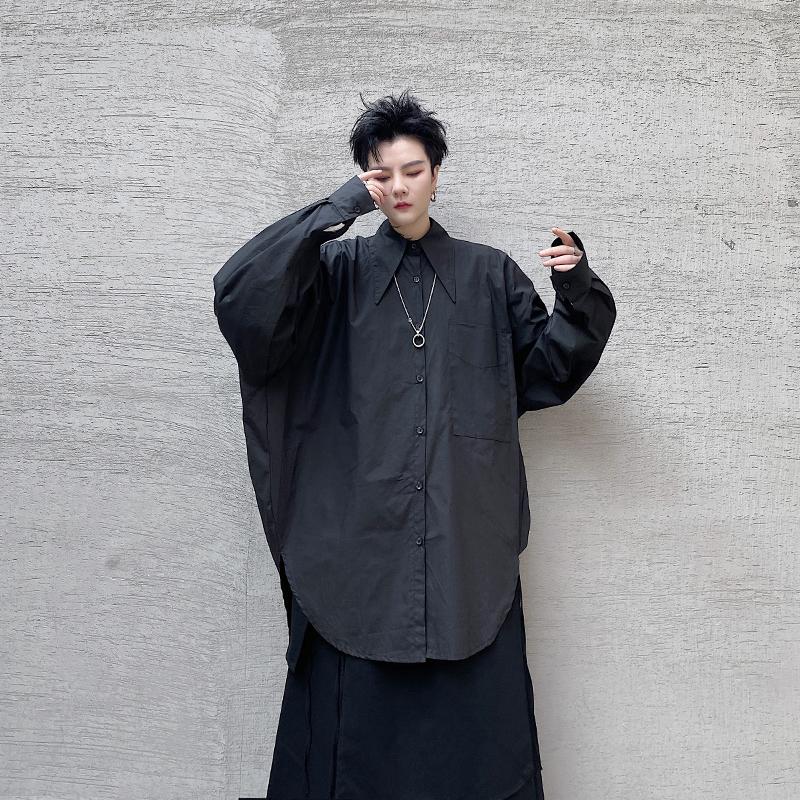 衬衫男士纯色衬衣韩版潮流暗黑系休闲百搭上衣外套潮流  CS12-P80