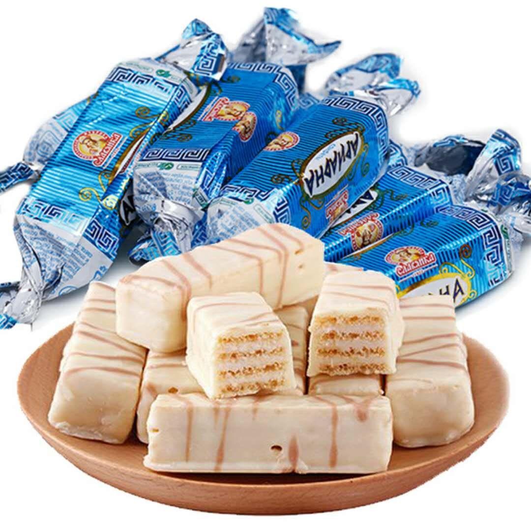 10-17新券【俄罗斯进口】俄罗斯进口酸奶威化500g牛奶夹心巧克力饼干喜糖。