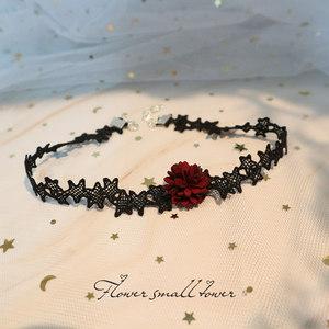 黑色新款蕾丝缕空星星酒红色花朵网红颈链锁骨链日韩少女洛丽塔女