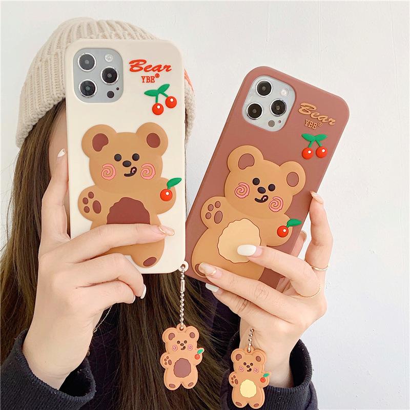 中國代購|中國批發-ibuy99|iphone|可爱小熊挂饰适用iphone12pro max苹果11手机壳x/xs硅胶8plus女xr