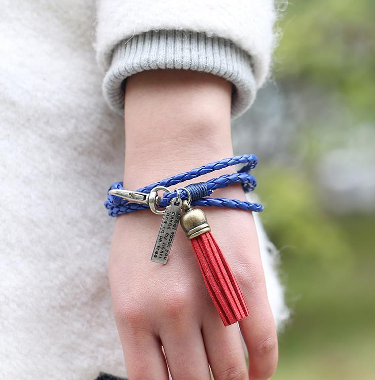 European and American fashion new hand woven national style leather bracelet multi loop winding tassel Bracelet