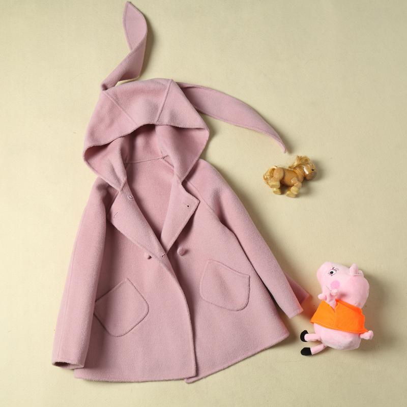2019春夏新款儿童双面呢大衣亲子装100%纯羊毛小兔子可爱粉色宝宝