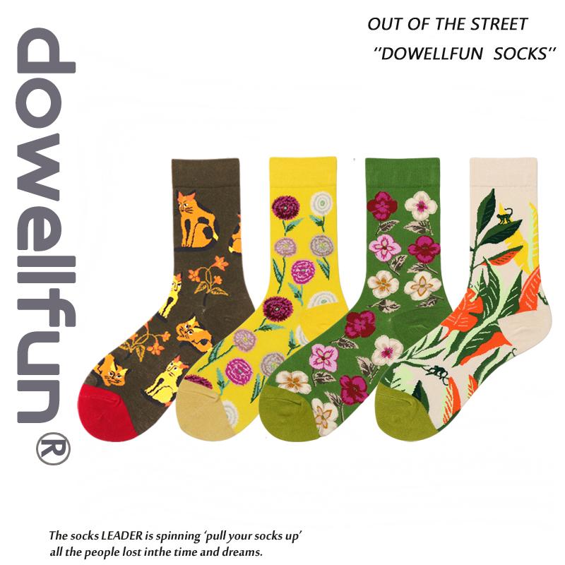 个性新款ins原宿街头泫雅风袜子欧美风花朵图案中筒滑板男女潮袜