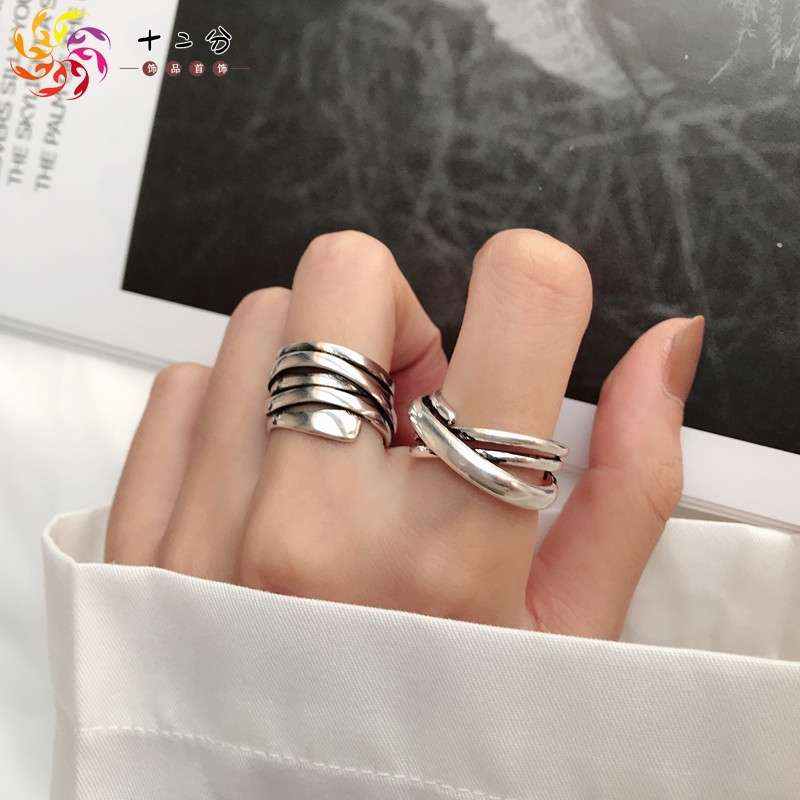 Japan and South Korea fashion personalized ring female retro multi-layer winding irregular line ring opening ring adjustable