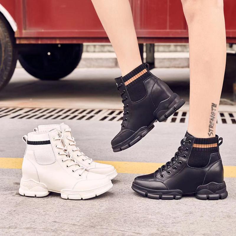 【5Gshop女鞋】2019秋冬飞织拼接真皮短筒网红靴子