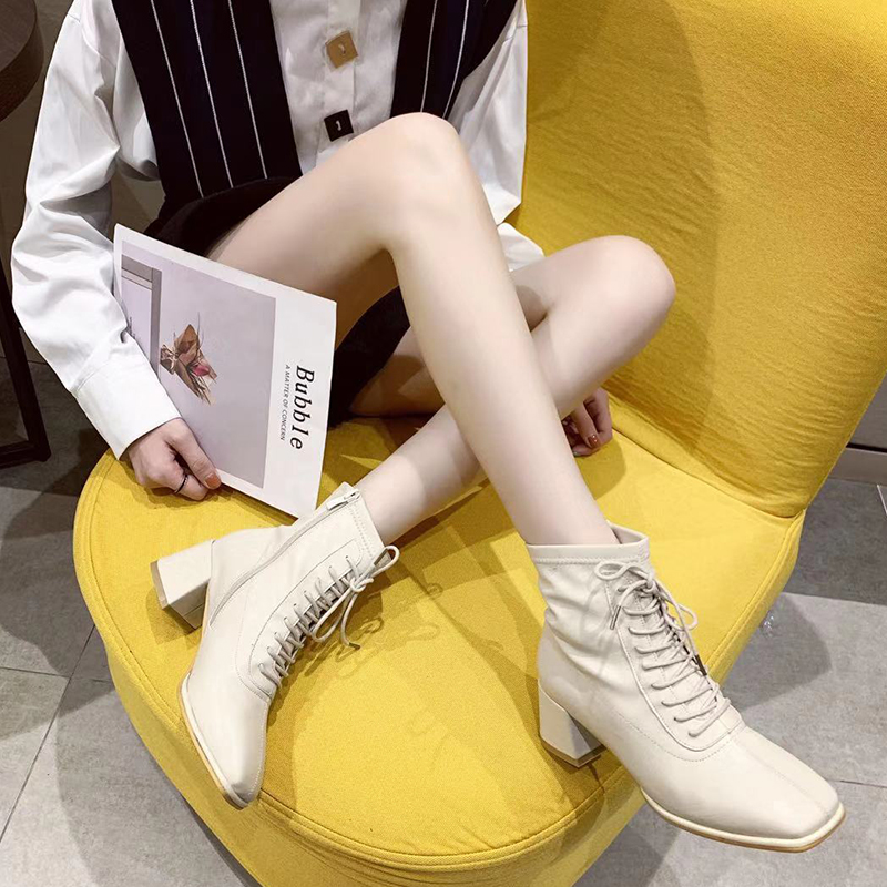 【5Gshop女鞋】2019冬款时尚网红瘦瘦靴简约短筒粗跟系带马丁靴子