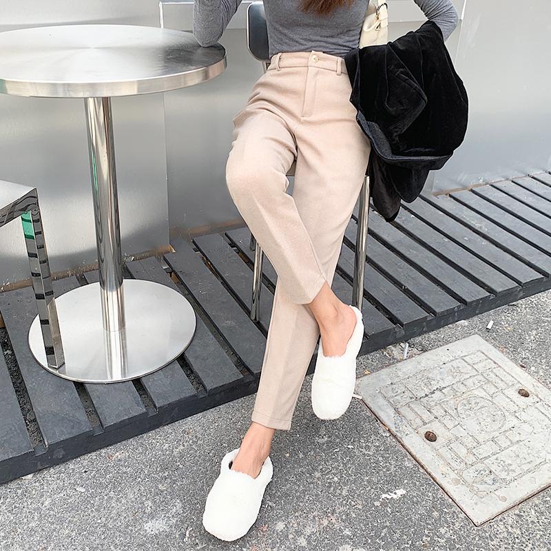 毛呢裤子女秋冬季休闲哈伦裤西装裤高腰奶奶裤九分烟管裤黑色长裤