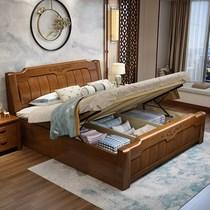 实木床2米2.2米大床主卧室现代简约一米八高箱储物床1.8米双人床e