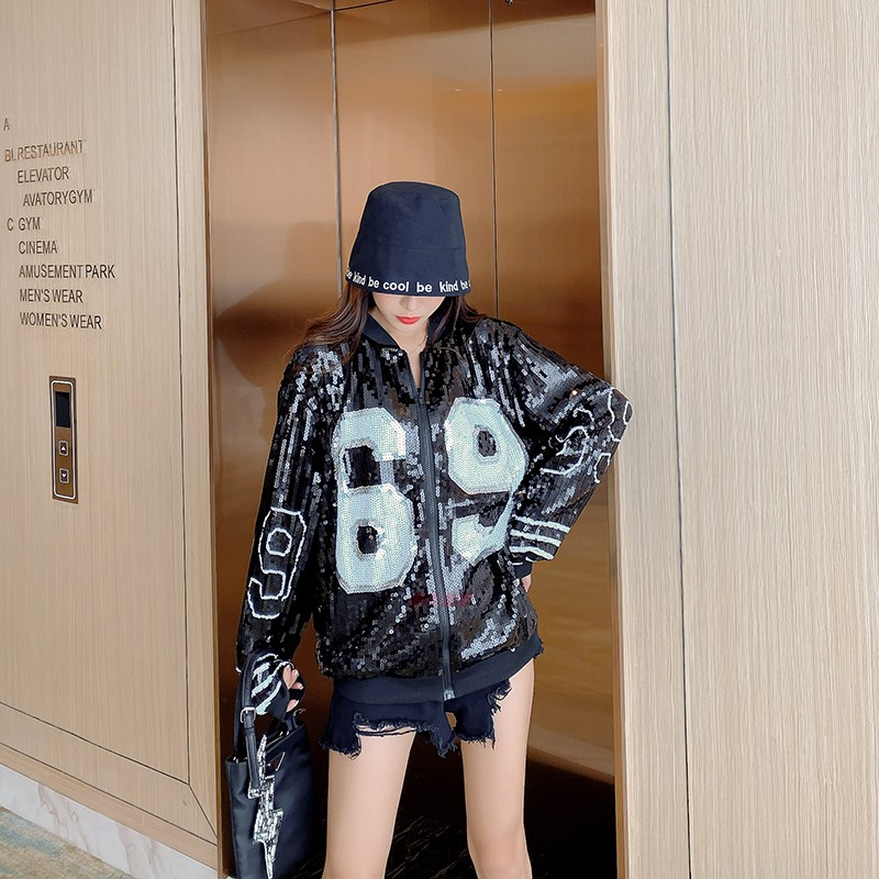 Chic ins stylish Sequin long sleeve cardigan Top Jacket