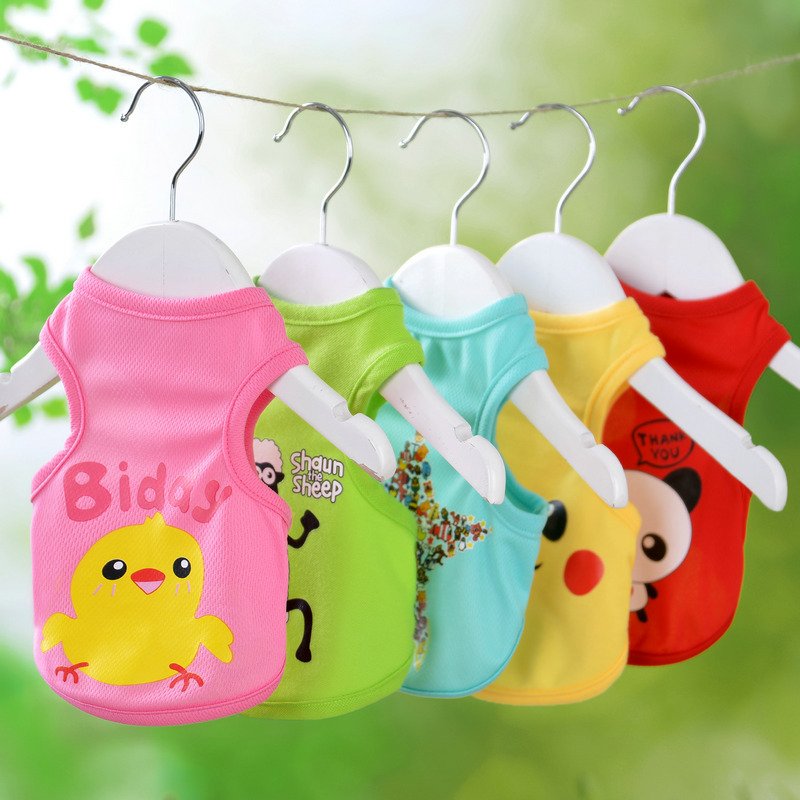 Spring and summer thin dog clothes teddy bear Bomei dog cat pet clothes fadou summer vest