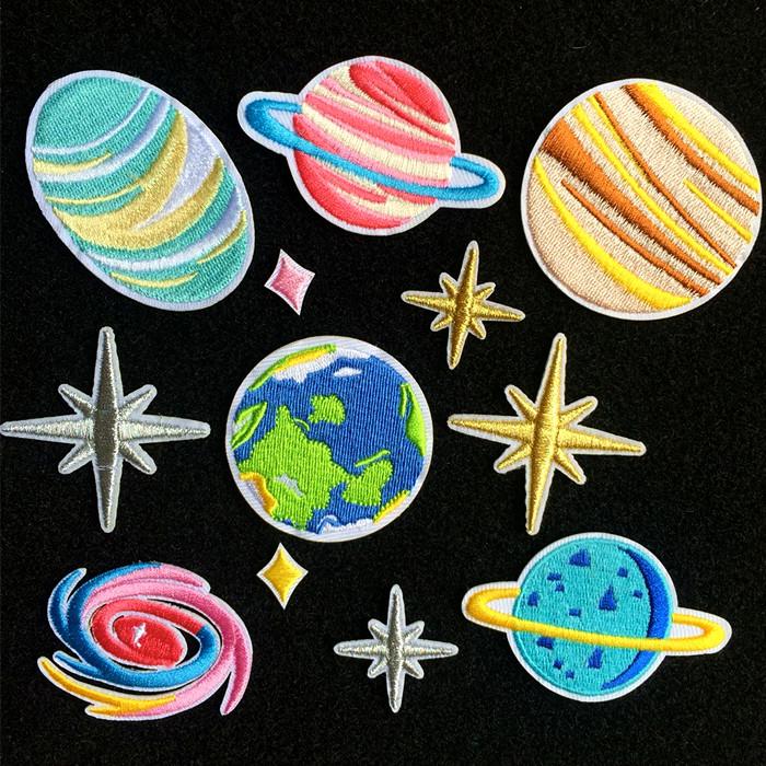 插画刺绣贴布贴花已知宇宙金星星球地球宇航火星空土星系金星。