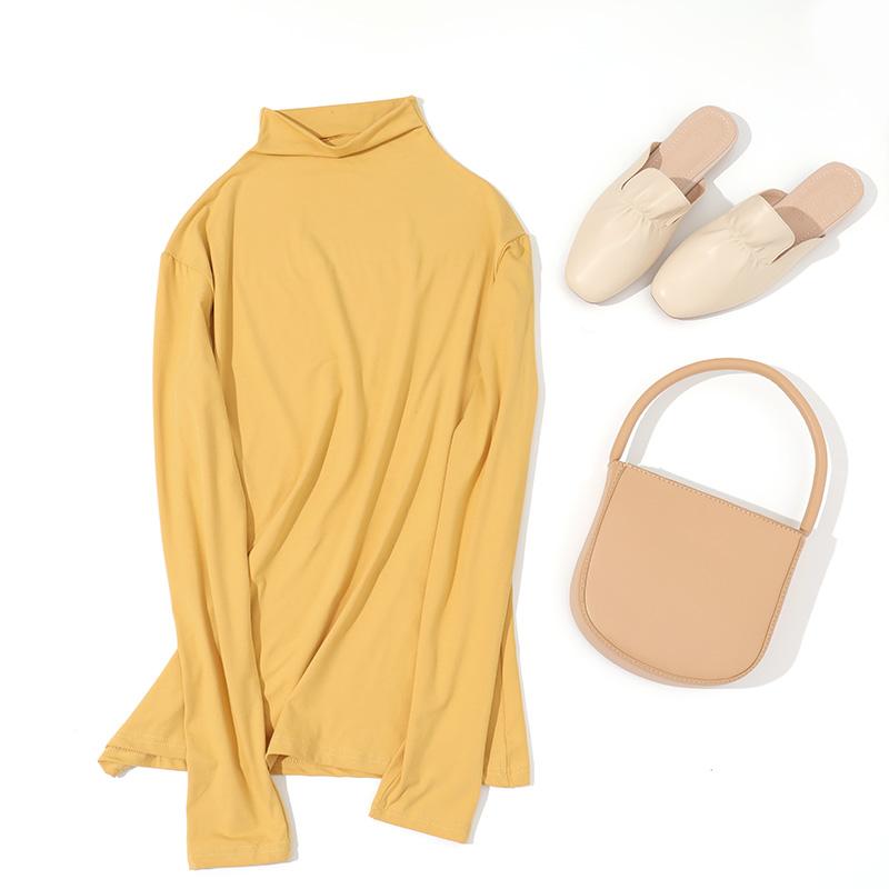 春季打底衫新款2021内搭潮流高领长袖面膜衫女士修身显瘦t恤上衣