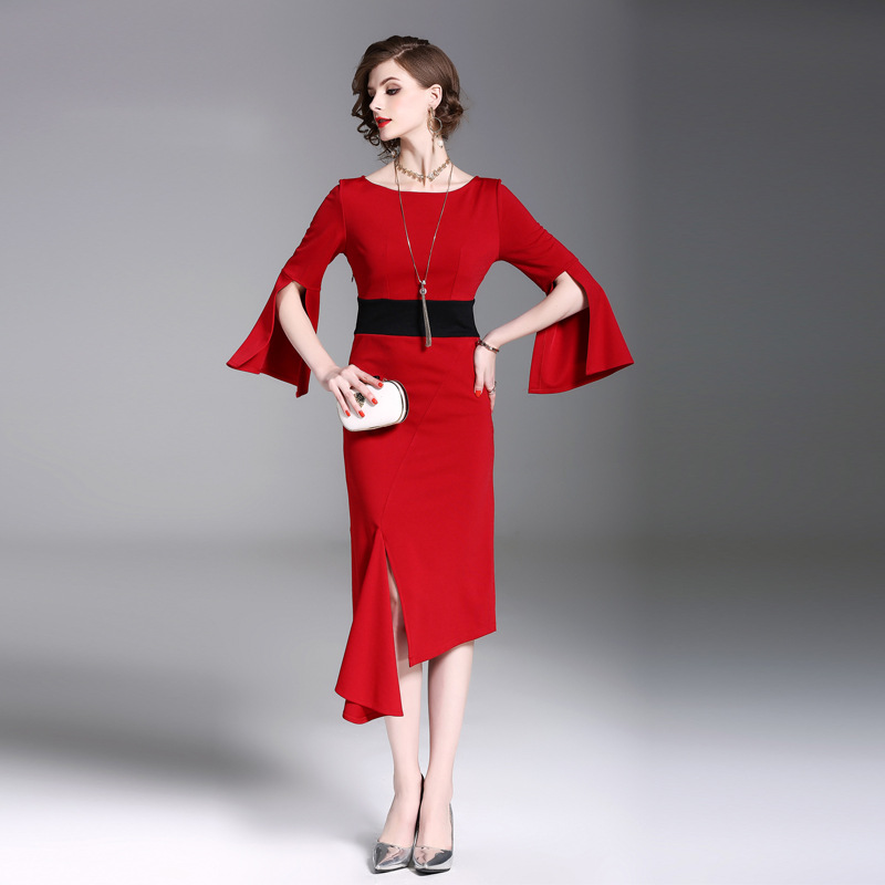 Autumn 2018 new slim lady temperament contrast stitching split irregular trumpet sleeve dress womens red
