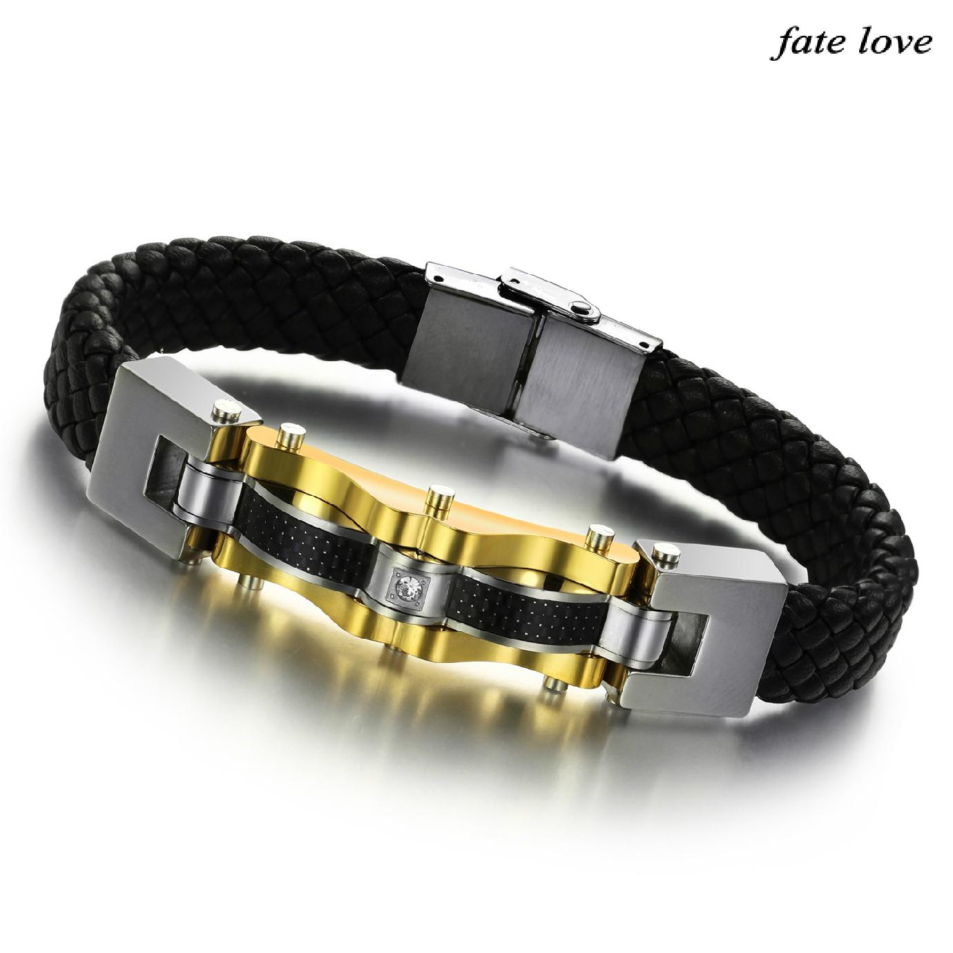 Новые ювелирные украшения кожаный браслет Мужская мода кожаные мужские браслеты титана стали золото 809