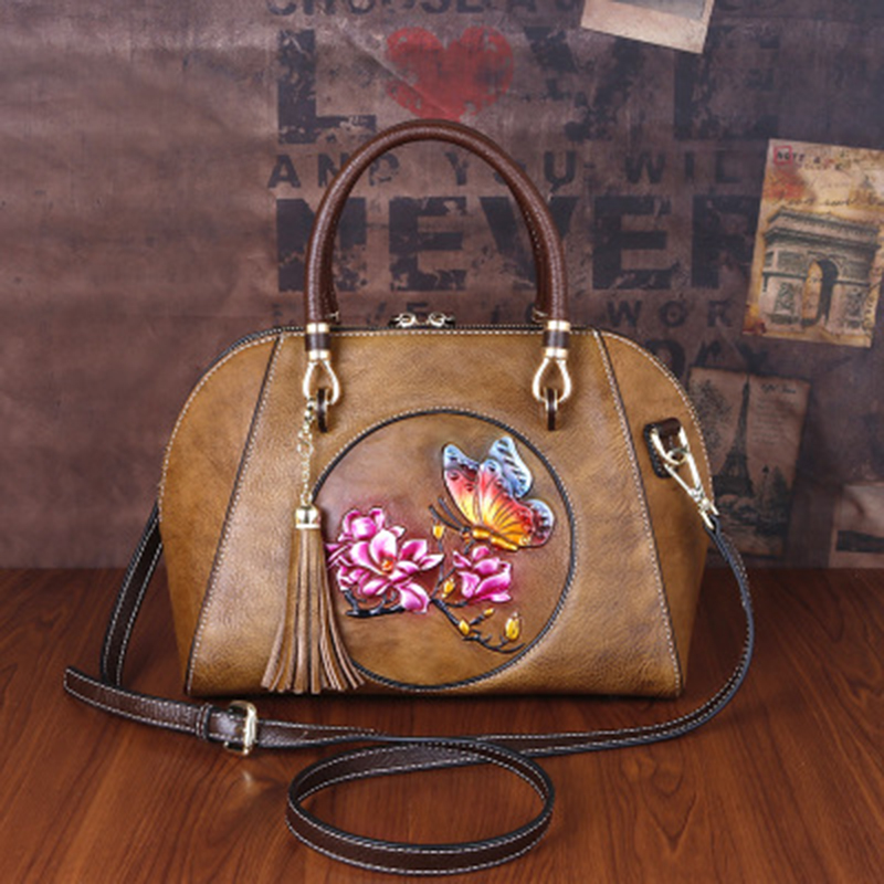 2020 new head leather simple retro bag original handmade genuine leather bag personalized handbag messenger bag womens fashion