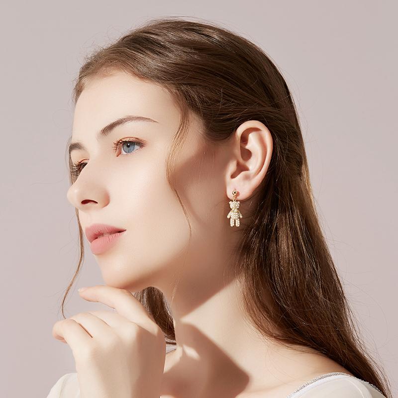 Asymmetric Bear Earrings female planet pearl temperament Earrings Korean personalized Earrings 2020 new fashion ear clip