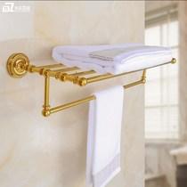 全铜欧式金色毛巾架套装复古浴巾架卫浴五金浴室挂件置物架卫生间