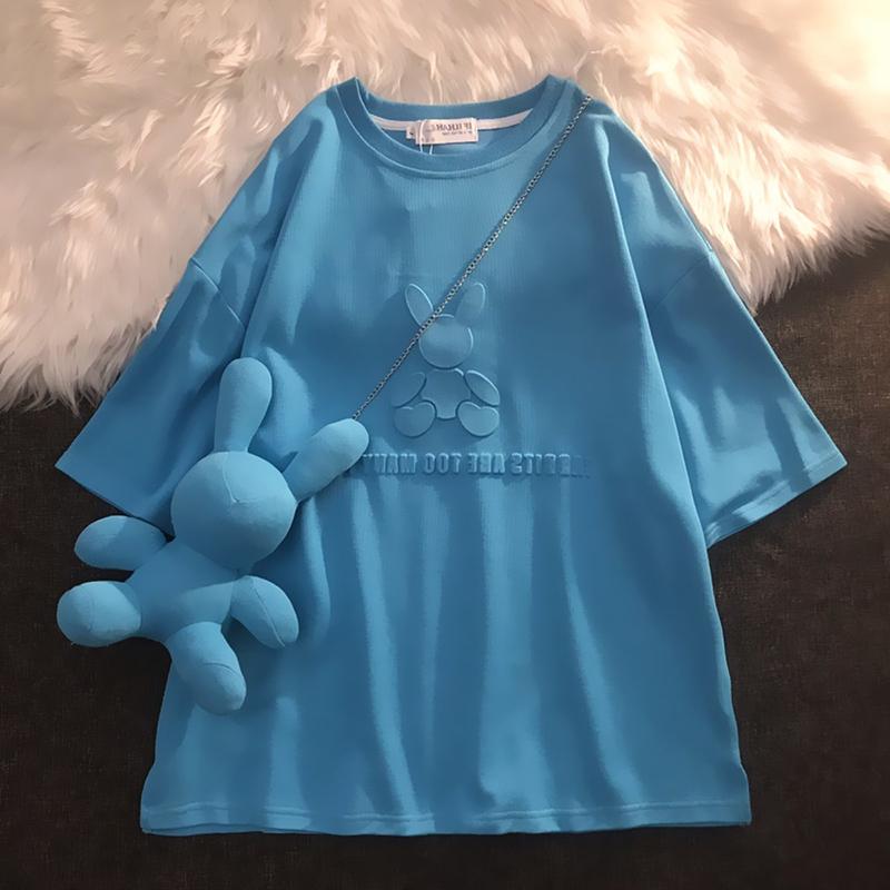 半袖2021夏季新款蓝色t恤兔子设计感小众女装中长款短袖宽松上衣
