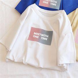 白色短袖t恤女2019新款夏装韩版百搭宽松学生纯棉潮ins上衣服体恤图片